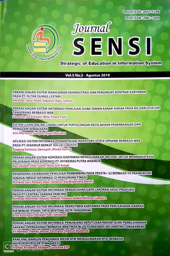 JOURNAL STRATEGIC OF EDUCATION IN INFORMATION SYSTEM (SENSI): VOL. 5 NOMOR 2